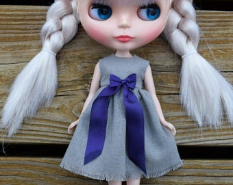 Gray w/ Purple Ribbon Blythe Dress