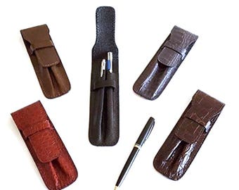 Leather case for 2 pens.Italian Handcrafted pouch for organizer Black Brown Gray Red. Gift for a person who teaches, especially in a school.