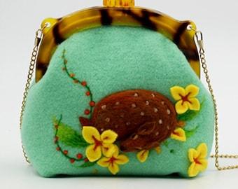 Sleeping deer white messenger bag woollen crossbody bag 21x20x9cm Mint
