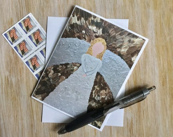 Angel Note Card with Envelope - Religious Card - Angel Card - Sympathy Card - Christian Art Card - Custom Note Card - Christian Card