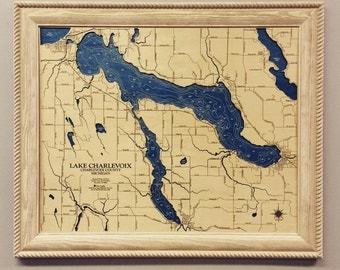 Lake Charlevoix Dimensional Wood Carved Depth Contour Map - Customize With Your Home Information
