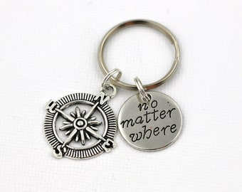 Compass Key Ring, No Matter Where Key Chain, Best Friends Keychain, Long Distance Keychain, Christmas Gifts, Gift For Boyfriend, I Love You