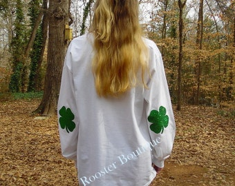 ST. PATRICK'S Day Long Sleeved T-shirt Shamrock Elbow Patches, Adult Youth sizes Monogrammed Personalized Customized  clover St. Patty's Day
