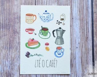 TEA OR COFFEE?, tea or coffee print, tea or coffee illustration, tea time illustration, tea print, coffee print, kitchen decoration,