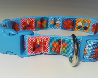 Adjustable Flor Dog Collar - Blue