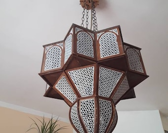 "Wooden Oriental Lamp ""Noor"" for 4 light bulbs (E27)"