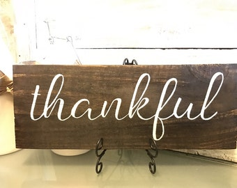 Thankful sign, Fall decoration, autumn decor, fall plague, thanksgiving decoration, thankful plague, rustic, Fall sign, hand painted wood