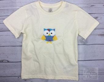 Cream T Shirt - Owl Motif - Age 5-6 - Organic Cotton - Vegan - Fairtrade - Kidswear - Owl T Shirt - Girls T Shirt - Girls Top