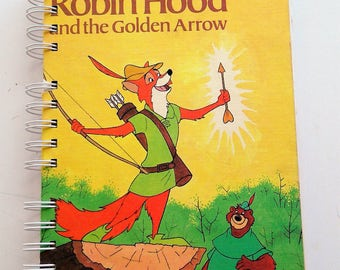 Robin Hood, storybook journal, upcycled, repurposed, journal, notebook, sketchbook, autograph book,