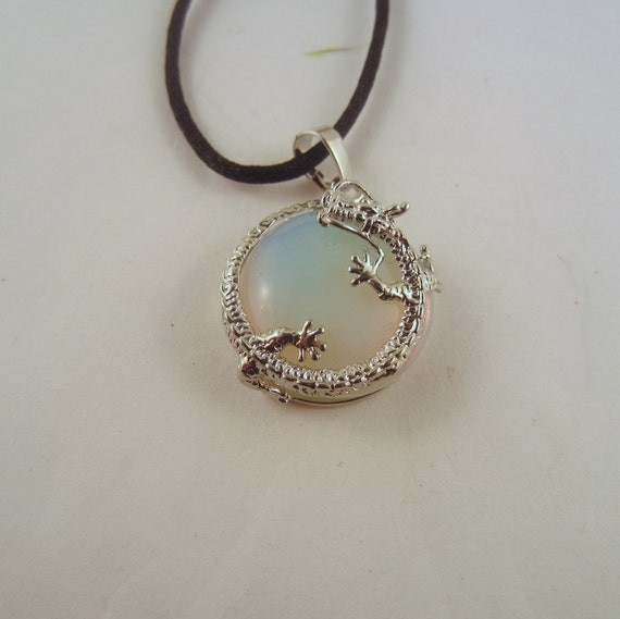 Opalite Dragon round Necklace: Natural Crystal Pendant, Stone Jewelry
