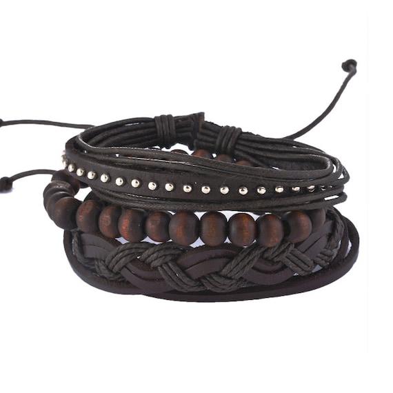 Mens Leather Bracelet Set Brown