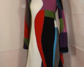 "Fleece dress ""unique"" patchwork high collar neck pagoda Sanlivine"