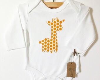 Organic Baby Clothes, Gender Neutral Baby, Giraffe Boho Bodysuit, Handmade Appliqué