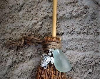 SEA GLASS BROOM, Mini Besom w/ Sea Turtle Charm, Genuine Sea Glass, Witch Broom, Decorative Broom, Wicca Witchcraft Pagan- 4 3/4 inches