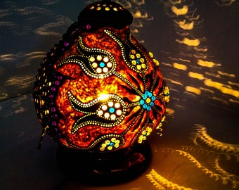 CHRISTMAS GIFT Gourd lamp art deco handcrafted Ottoman Turkish lamp, table  lamp, stehlampe wedding