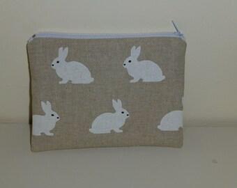 Rabbit Coin Purse, White Rabbit Make-up Bag, Bunny Coin Purse, Bunny Make Up Bag,  Woodland Coin Purse, Linen Coin Purse, Linen Make Up Bag