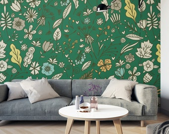 Vintage Floral / Removable Wallpaper / Repositionable  / Wall Mural / Traditional Wallpaper / Non Woven / 120 W x 300 H cm