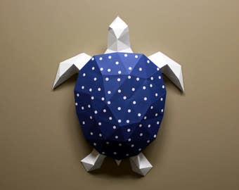 Turtle, Craft Kit, Sea Turtle, DIY Gift for her, Polka Dots, Fold, Faceted, Zoo Animal, Papercraft DIY, DIY kit, Polygon, Polka Dot, Turtle