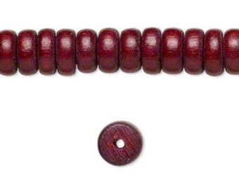 """Brown Wood Beads, Red Brown, Rondelle Beads, 8x4mm, 16"""" Strand, D927"""
