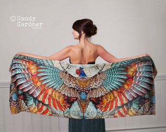 Pheasant Phoenix,Phoenix Scarf, prom shawl, sarong,  Pheasant Scarf, Winged scarf, winged shawl, Pheasant shawl, Phoenix, prom scarf
