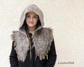 Viking hood, Felted hood, hooded capelet, festival hood, nunofelt hood, elven cloak elf cosplay medieval cloak sheep wool hood