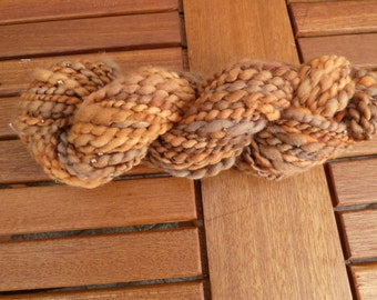 Hand spun/ dyed art yarn with beads