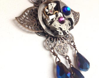 Steam punk winged pendent