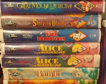 Lot of (18) Black Diamond Walt Disney Movies - Beauty and The Beast, Aladdin, Bambi, Dumbo