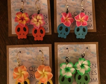Day of the Dead Large Polymer Clay Flower and Stone Skull Earrings