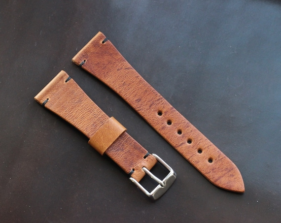 22/16mm Horween Dublin watch band with simple stitching