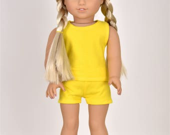 """Combo Set """"Simple Basics"""" 18 inch doll clothes Color Yellow"""