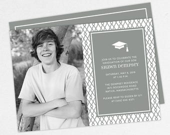 Graduation Invitation, Photo Graduation Invitation, Graduation Announcement, Printable, PDF, DIY, Printed Invites, Modern, Boy, Shawn, Gray