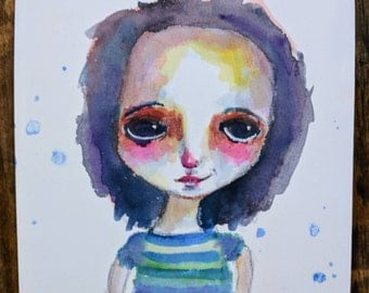 Sammy- An Original watercolor painting on 6x6 paper by Amber Button