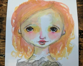 Addie- An Original watercolor painting on 6x6 paper by Amber Button