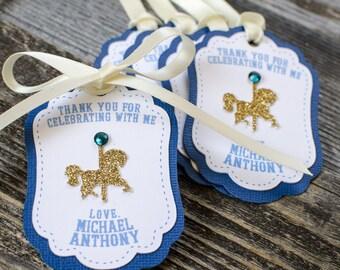 12 Carousel favor tags, merry go around, birthday favor tags