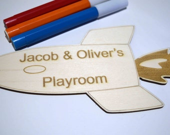 Personalised Playroom Door Sign, Door Plaque. Spaceship design, Children's Door Sign. Children's Bedroom And Playroom Decor, Baby Gift.