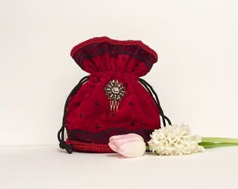 Evening bag, dark red velvet drawstring pouch, hand made bag, bridal bag, bridesmaids bag, luxury party bag, women's gift, wedding bag