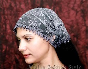 Gray catholic veil church head scarf catholic accessories orthodox veils head covering  mantilla headband headscarf with ties mantilla veil