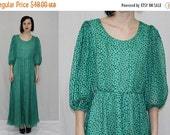 Christmas Sale Vintage 70s Green Black POLKA Dot Chiffon Boho Cocktail Party MAXI Dress S M