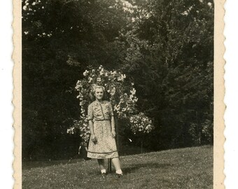 Vintage photo 'Flower dress, blooming tree' vernacular photography, young girl lady woman, outdoor garden posing