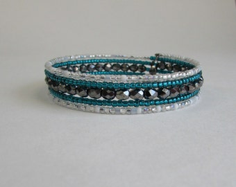 Memory wire bracelet in shades of turquoise, grey and white, beaded wrap bracelet, wrap around bracelet