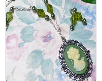 Victorian lady Cameo long necklace and earrings set, green and white, choose clip on or pierced fittings