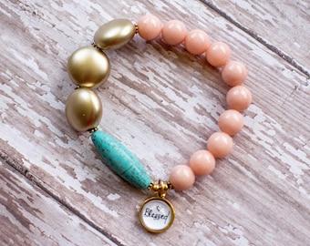 Pink and Gold Catholic Rosary Bracelet, Modern Rosary Bracelets, Blessed Bohemian Prayer Bracelet, 602056