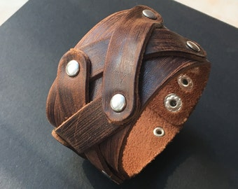 Cross rivet X brown leather cuff bracelet with adjustable snaps
