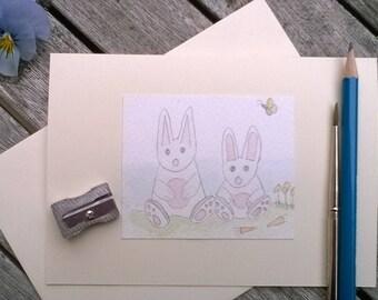 Greeting Cards Handmade Rabbits