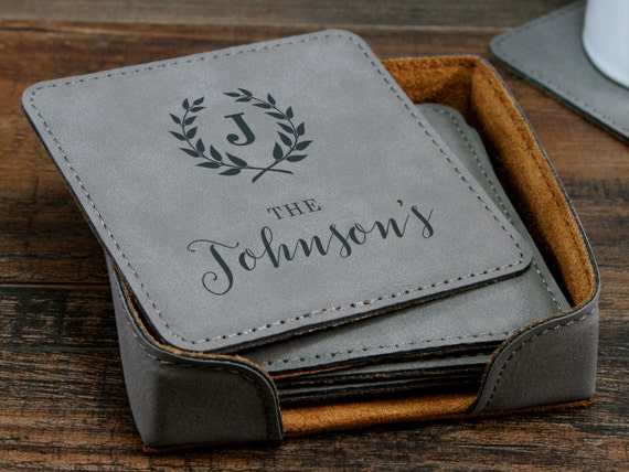 Gift For 3rd Wedding Anniversary: Personalized Coasters 3rd Anniversary Gift Leather Coasters