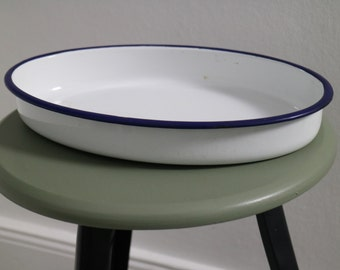 Vintage bowl, enamel, white with blue border, from Berlin