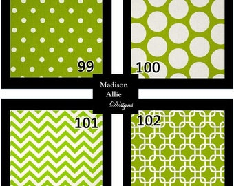 Custom Pillow Cover Custom Cushion - Colors - Chartreuse White Dots Chevron Geometric Invisible Zipper Closure