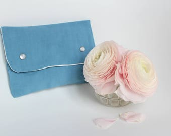 Blue wallet for purse - blue oil - wash, made from old cloth - bag Kit in rabat