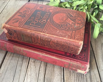 Antique set of 2 red books for reading, home decor, collecting, holiday vignette!